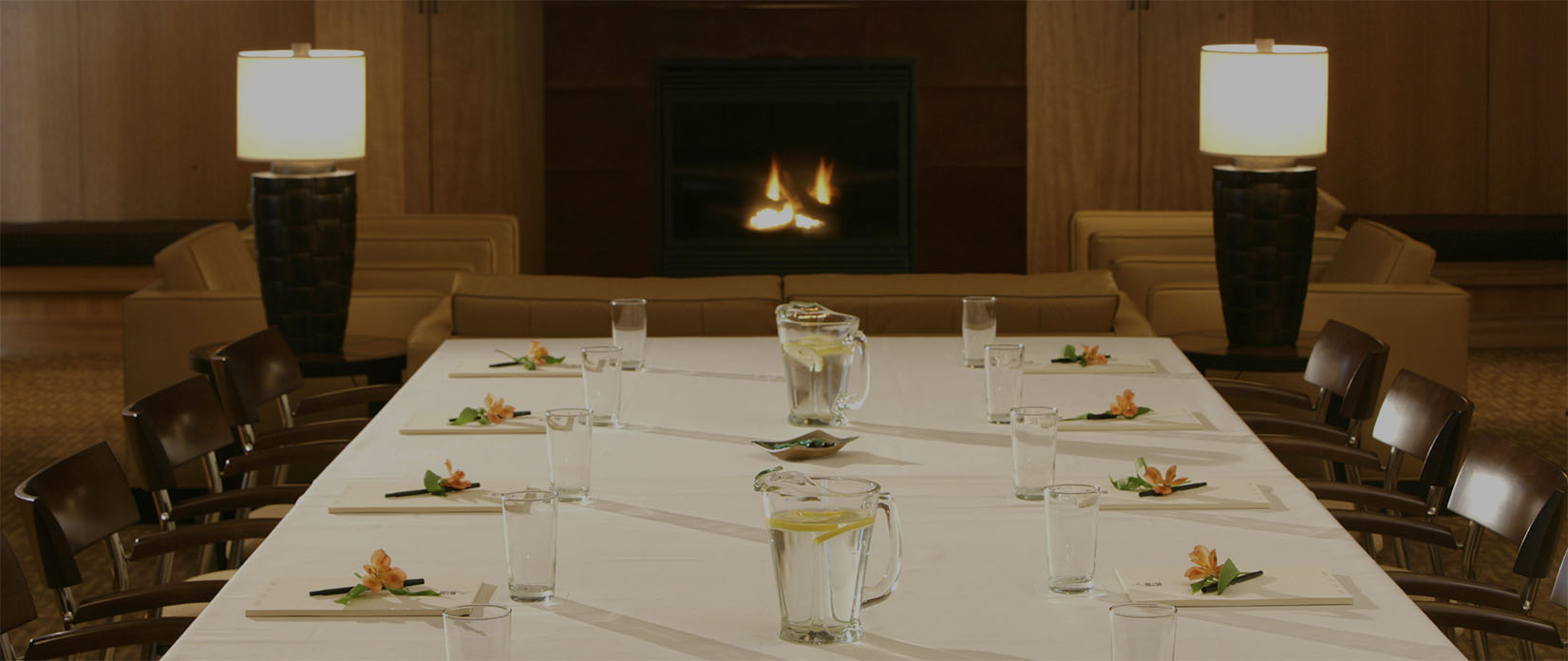 Meeting Table by fireplace