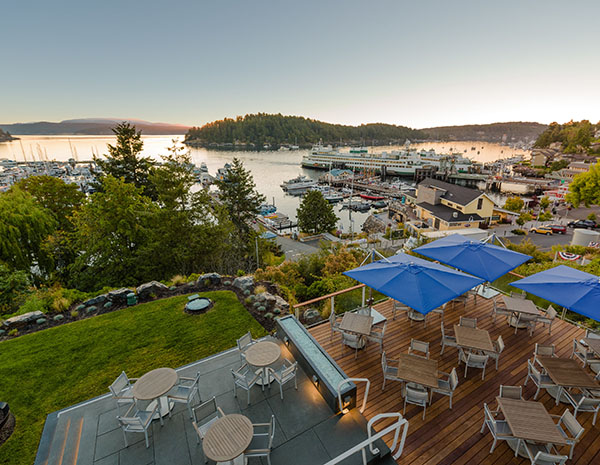 outdoor patio and harbor view